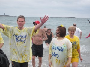 First time plunger Terry Holmgren after his first dip in the fridged waters.