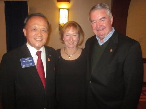 Rotary International President-Elect Gary Huang, Rotary International Director-Elect Julia Phelps and Wakefield Rotary Past President Dick Reidy.