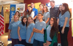 Israeli teens from Friends Forever pose with Saugus Rotary President Doug Currier and Wakefield President Bob Mailhoit.