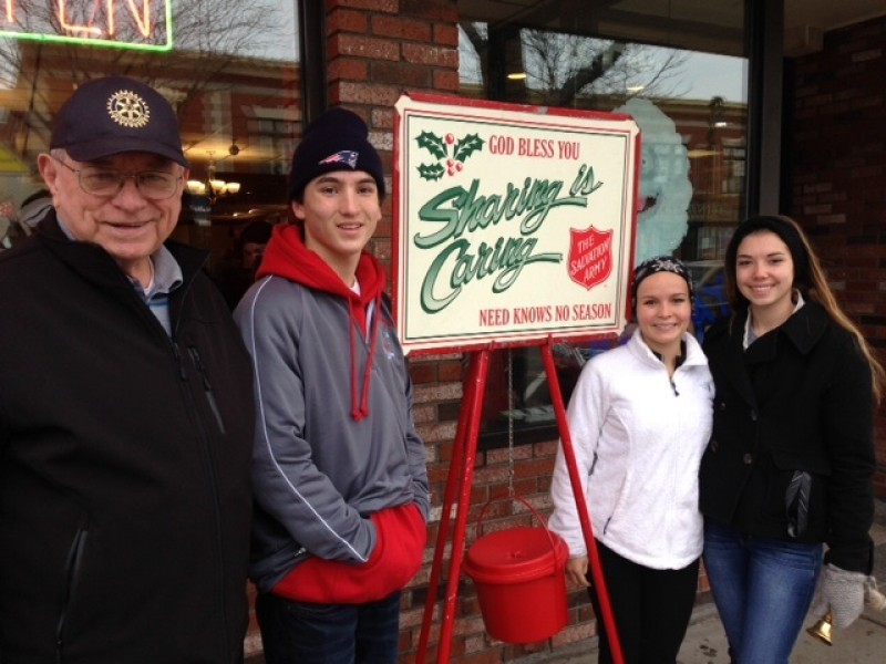 Rotarian Jim Tarpey was joined by Interact students Austin Collard, Brianna Collard, and Waverley Stanfield